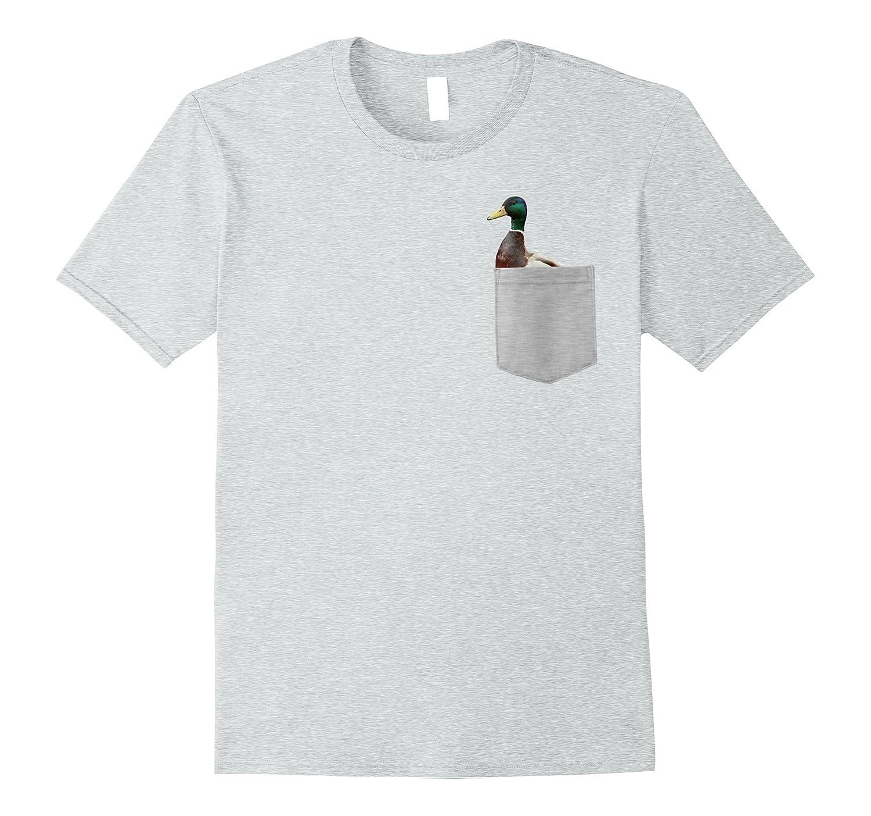 22f72ebb Animal in Your Pocket Funny Mallard Duck peeking out t shirt-T-Shirt ...