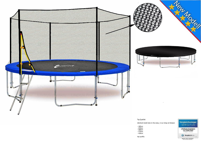 LS-T370-PA12 (BW) LifeStyle ProAktiv Garten- Trampolin 370 cm - 12ft - Extra Starkes Sicherheitsnetz - 180kg Traglast - Neu
