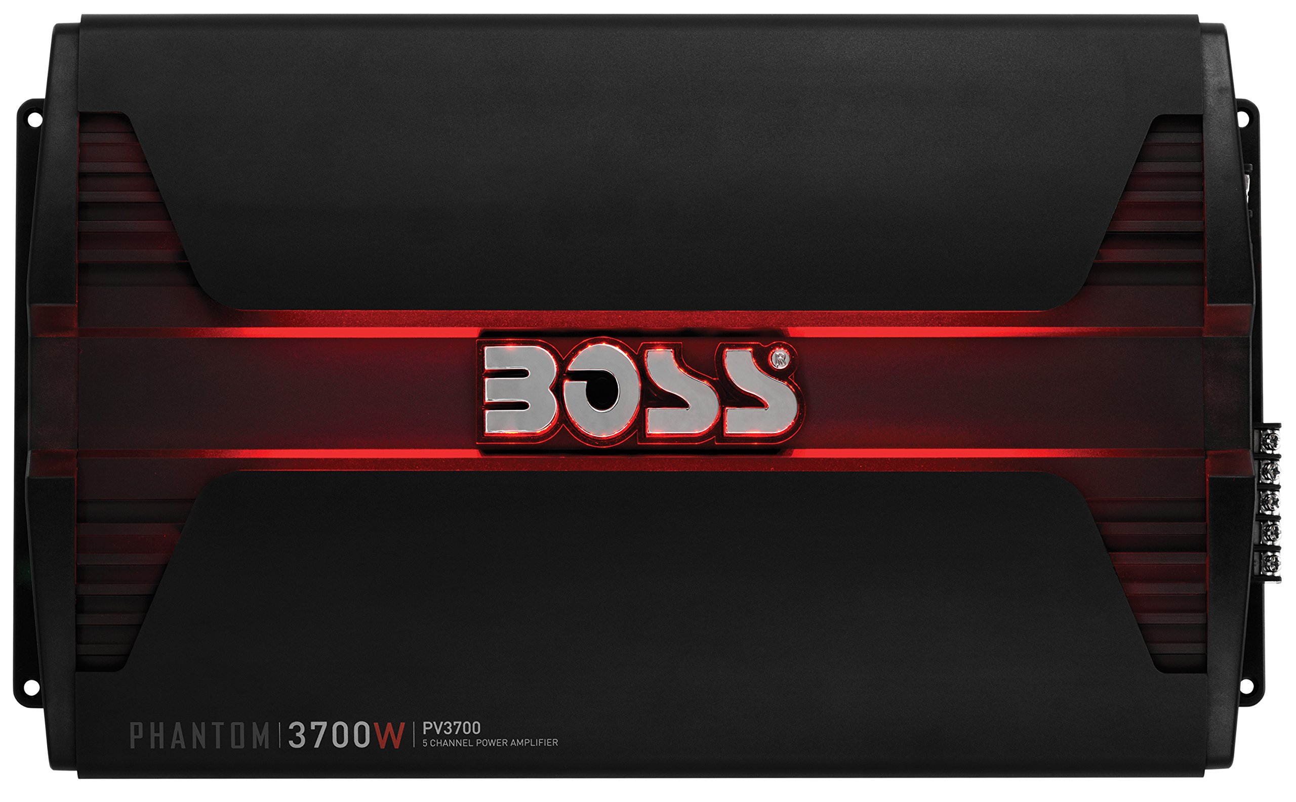 BOSS AUDIO PV3700 Phantom 3700 Watt, 5 Channel, 2/4 Ohm Stable Class A/B, Full Range, Bridgeable, MOSFET Car Amplifier with Remote Subwoofer Control