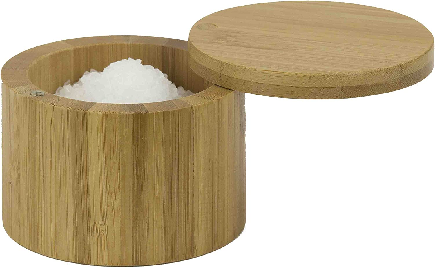 Home Basics Bamboo Swivel Salt Box with Magnetic Lid, Natural Honey (1 Tier)
