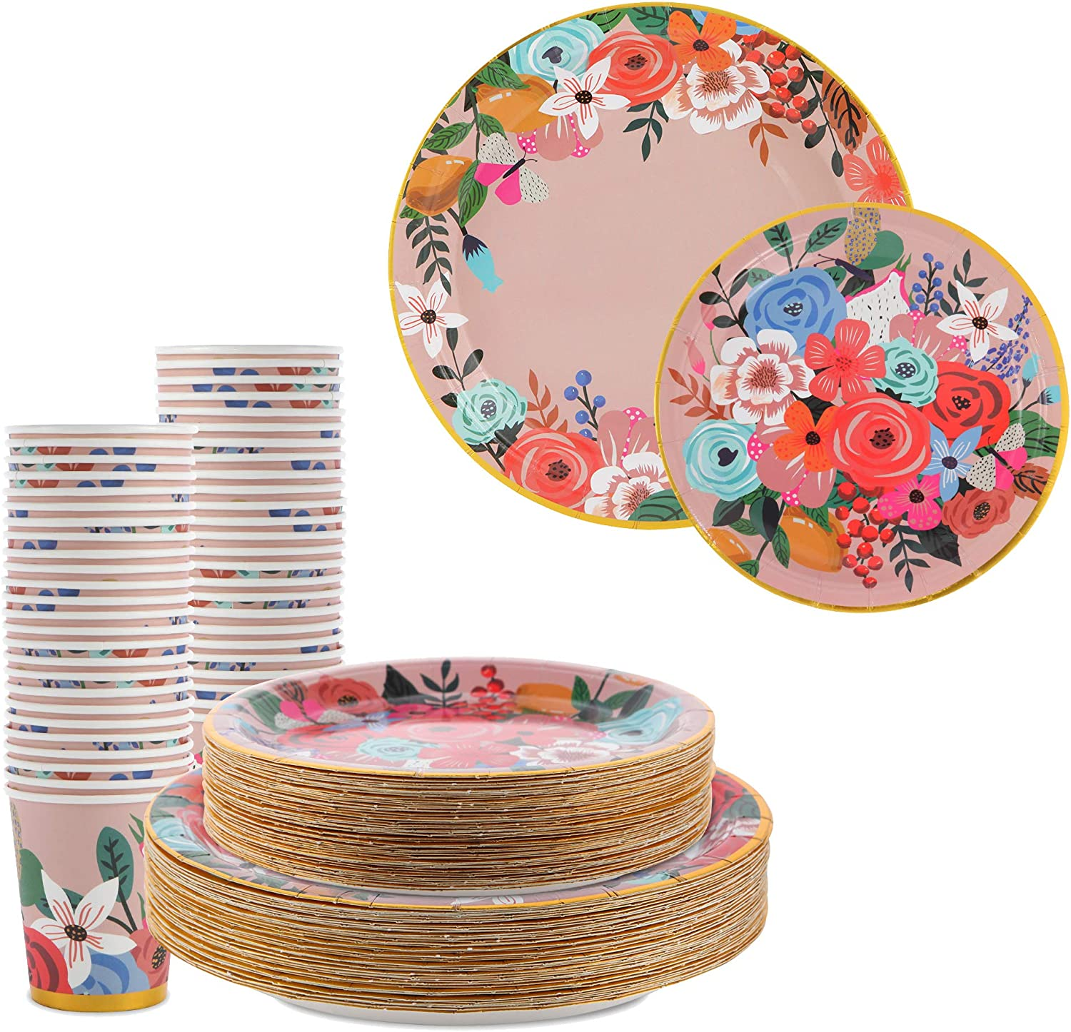 150 Pieces Disposable Paper Plates and Cups Set, Monet Garden Inspired Pink Floral with Gold Foil Design, Wedding and Party Supplies Set. Includes 50 Dinner Plates, 50 Dessert Plates, and 50 Cup