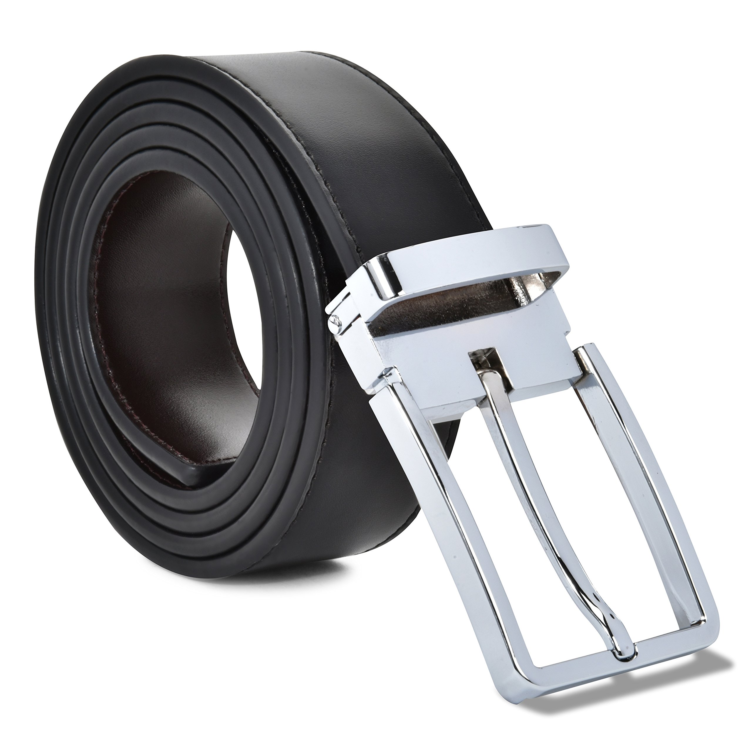 Mark Fred 100% Leather Dress Belt Grade A Genuine Italian Leather Reversible,Black/Brown Strap Silver Buckle,Small