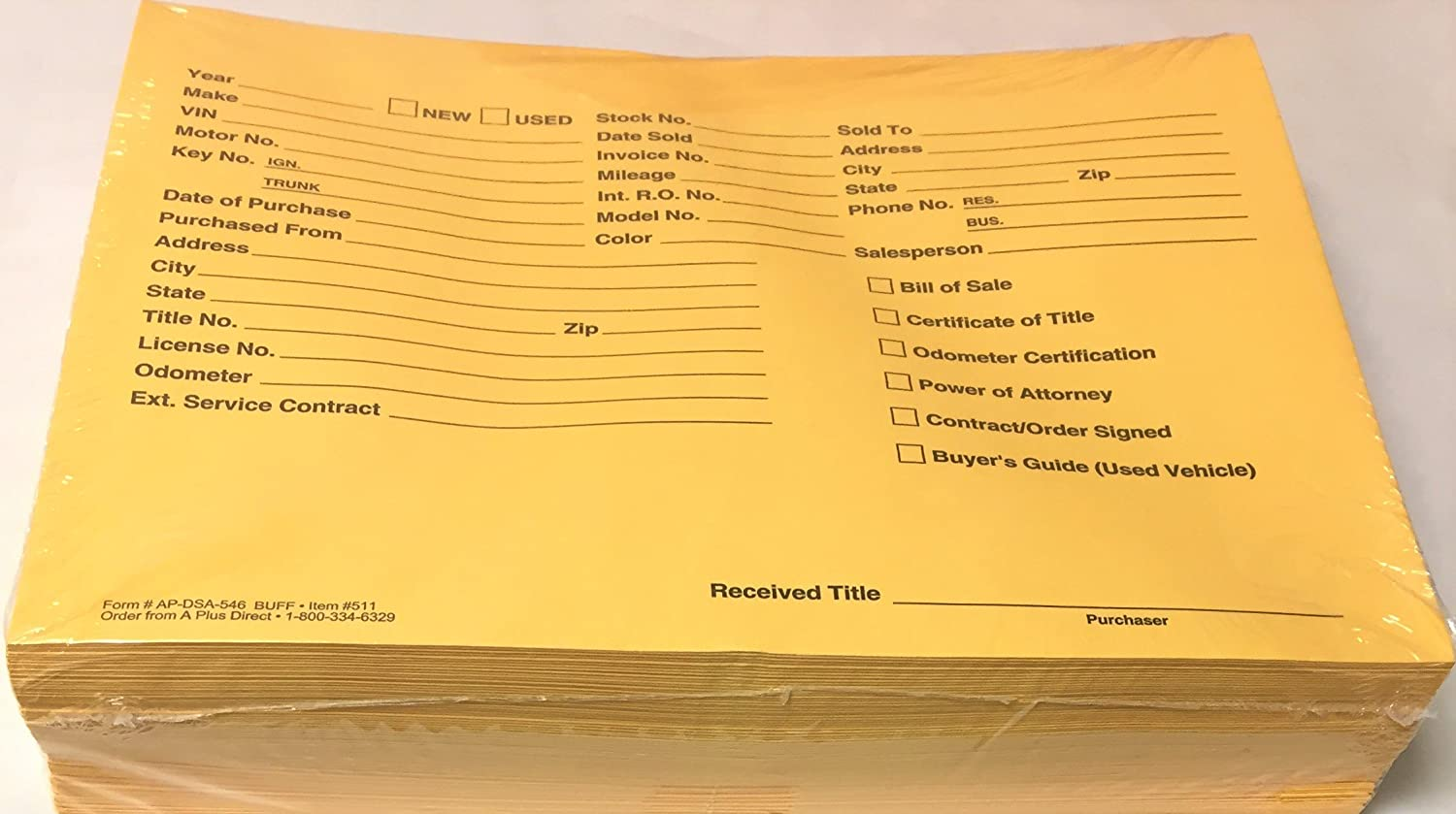 Yellow Pre-Printed Vehicle Deal Envelopes Deal Jackets 500 per box