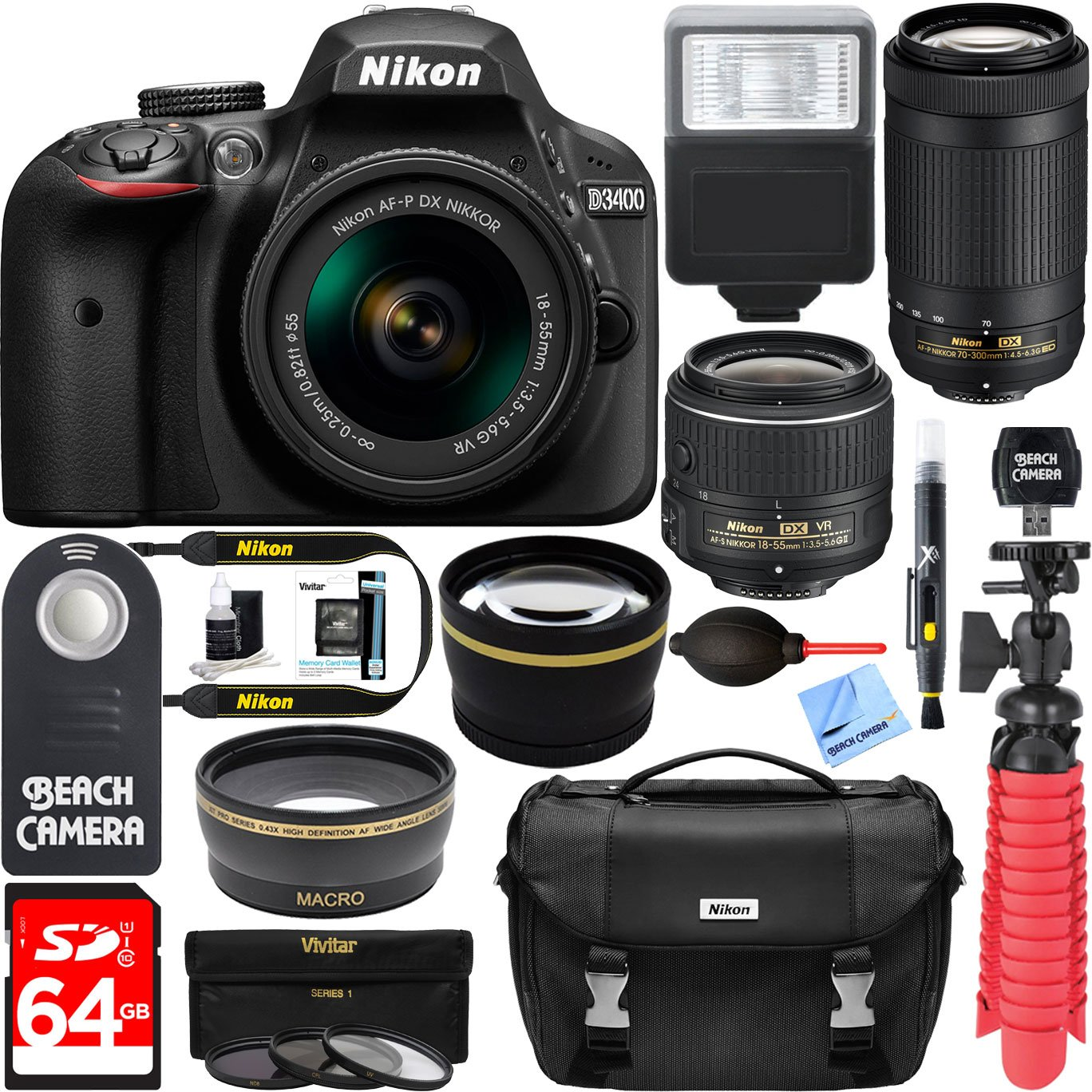 Camera Best Dslr Camera Company amazon best sellers dslr camera bundles nikon d3400 24 2 mp af p dx 18 55mm 70