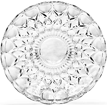 CG Society Set Of 4 Legacy Collection Italian Cut Fancy Clear Glass Dessert Plates Platter