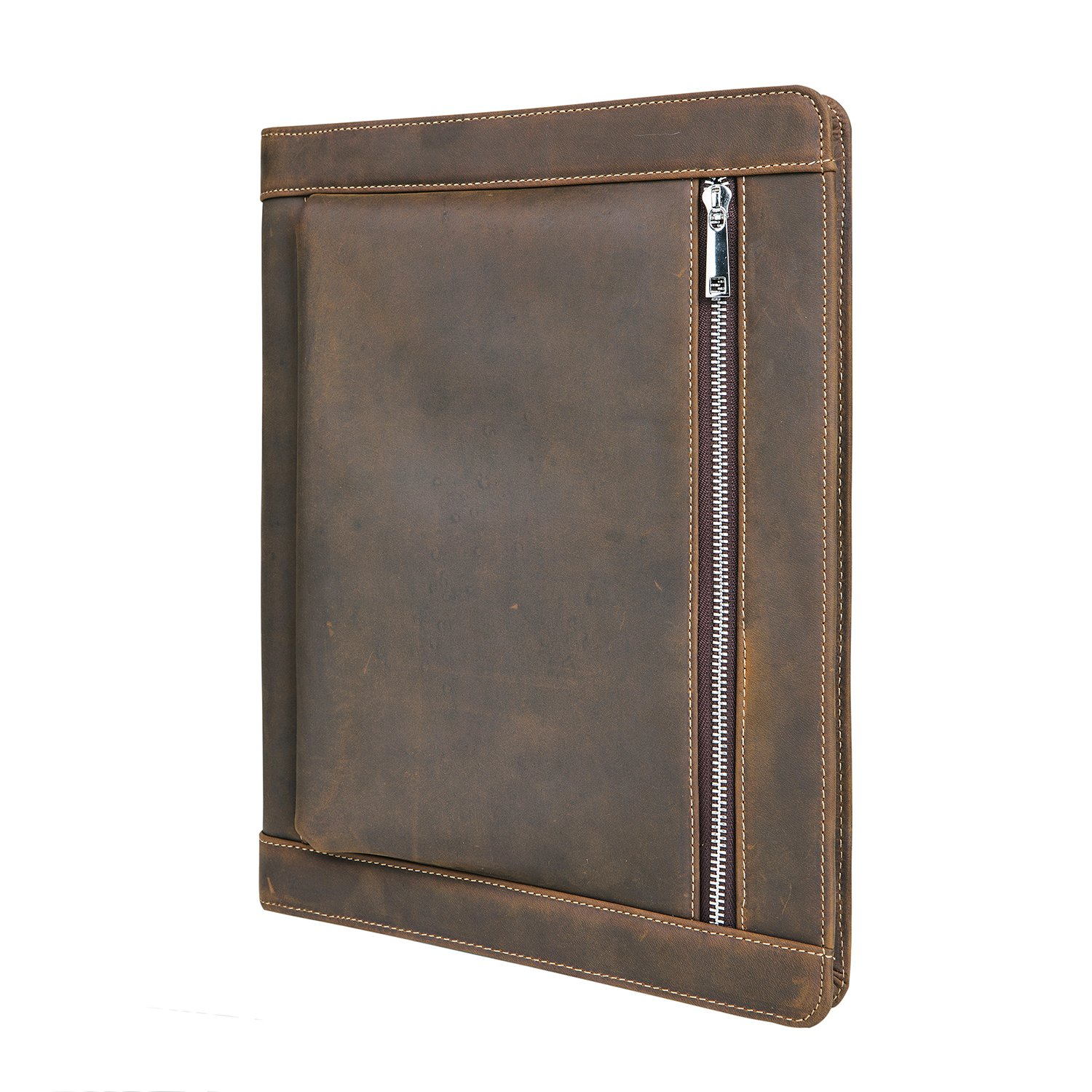 Vintage Portfolio Organizer Full Grain Leather Crazy-Horse Padfolio Case for iPad Air/iPad Pro/Microsoft Surface Pro Portfolio with Letter Size(A4) Paper (NEW iPad Pro 10.5 Inch)