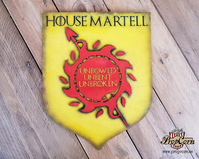 Casa Martell, escudo de Juego de Tronos. Nunca Doblegado, Nunca Roto. Oberyn Martell, la víbora Roja, Serpientes de Arenas de Dorne. Nymeria. Asoiaf