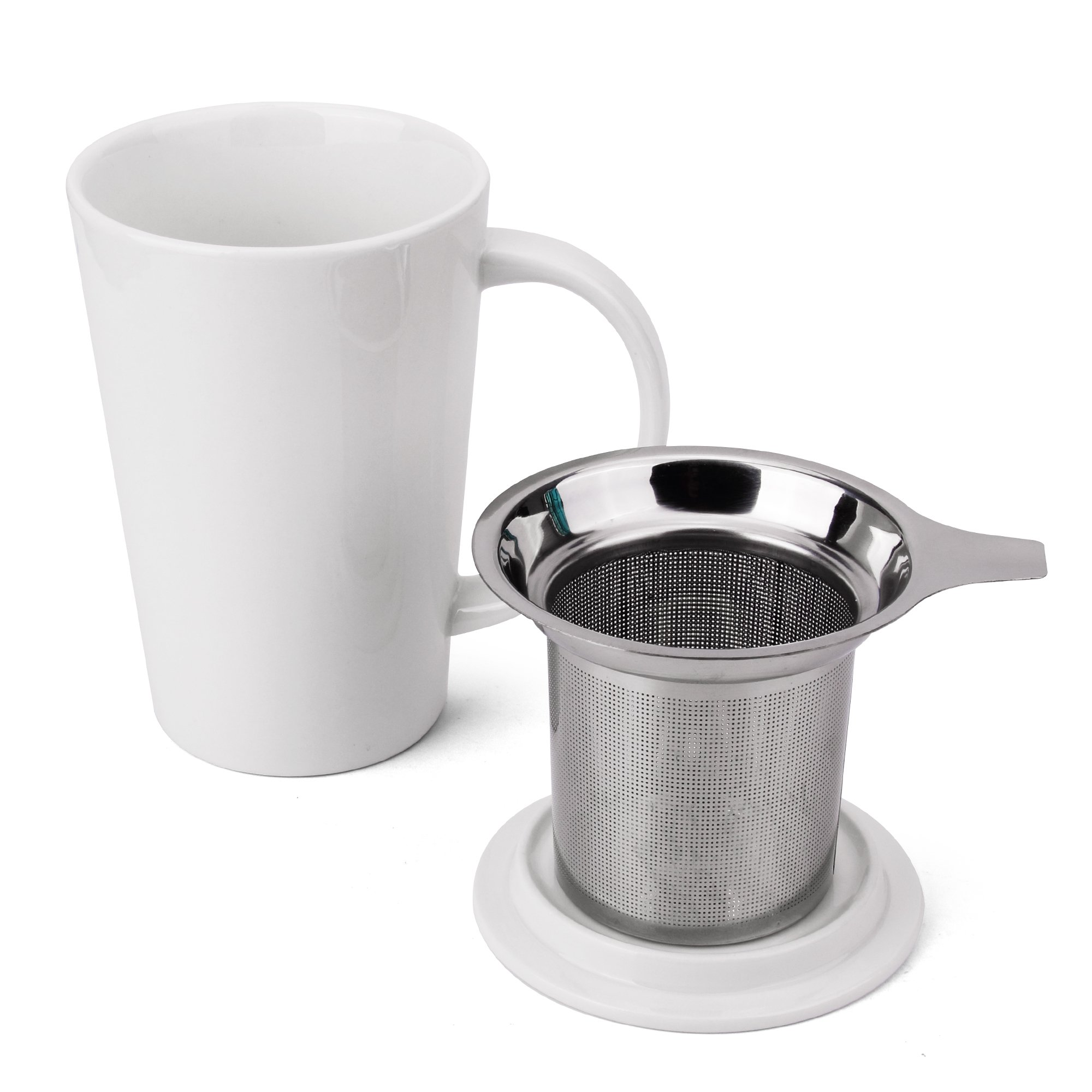 Fashion Simple Style Tea Mug with Infuser and Lid 14 OZ (White set of 1)