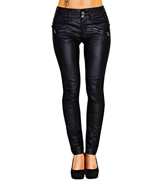 Tiefstpreis am beliebtesten bestbewertet Damen Bootcut Hose Leder-Optik Skinny (428)