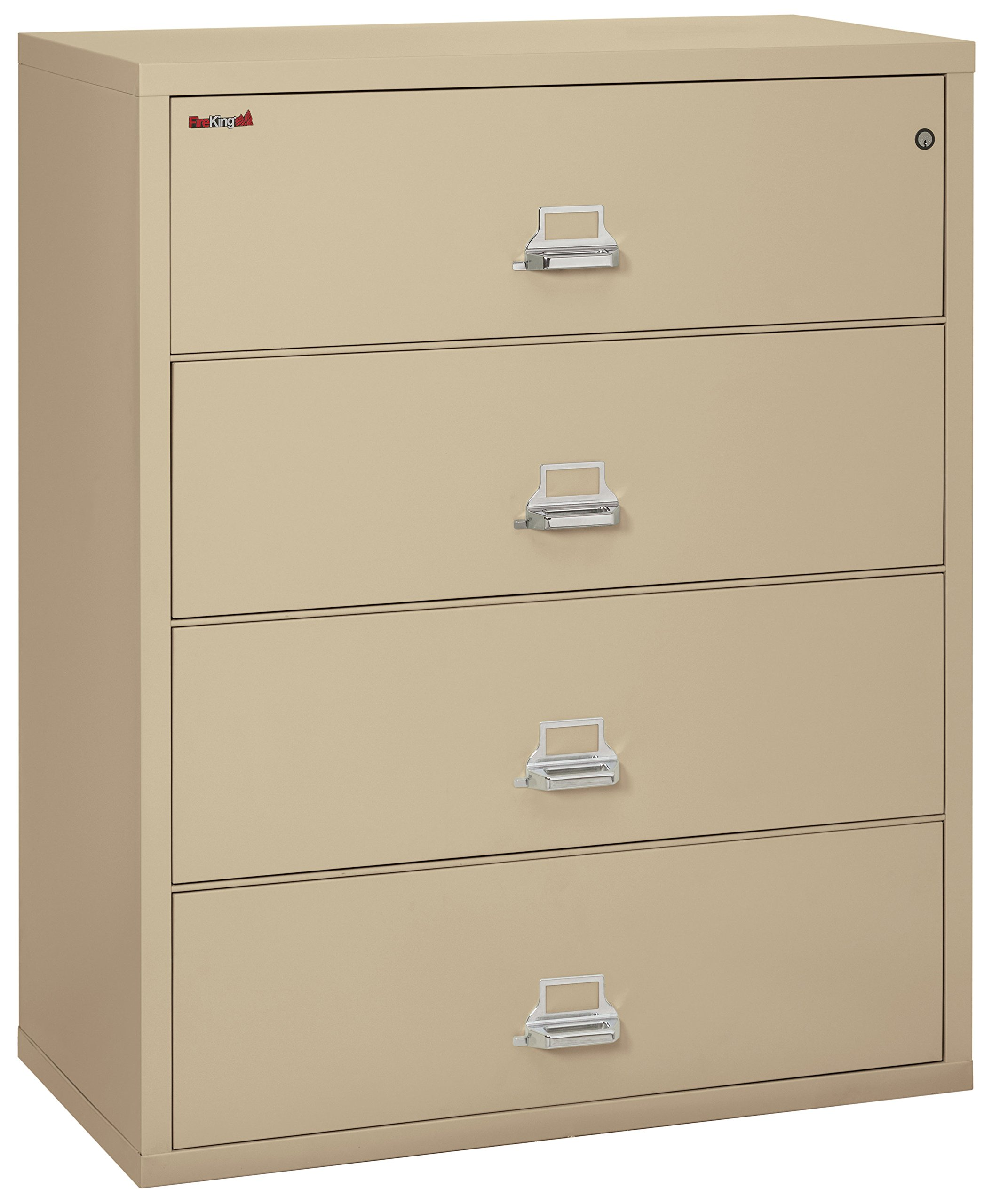 Fireking Fireproof Lateral File Cabinet (4 Drawers, Impact Resistant, Water Resistant), 44'' W x 22'' D, Parchment, Made in USA by Fireking