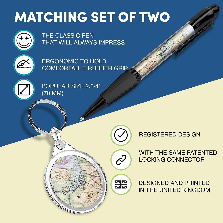 per le chiavi Seattle Washington Travel #3659 Bella e comoda penna con immagine ed elegante portachiavi rotondo