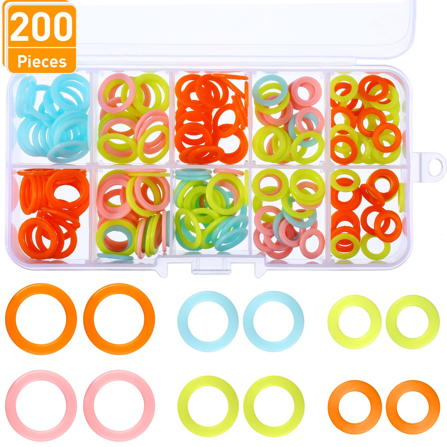 Blulu 200 Pieces Knitting Marker Rings Stitch Rings Markers Crochet Locking Plastic Storage Box, 3 Sizes, Assorted Colors