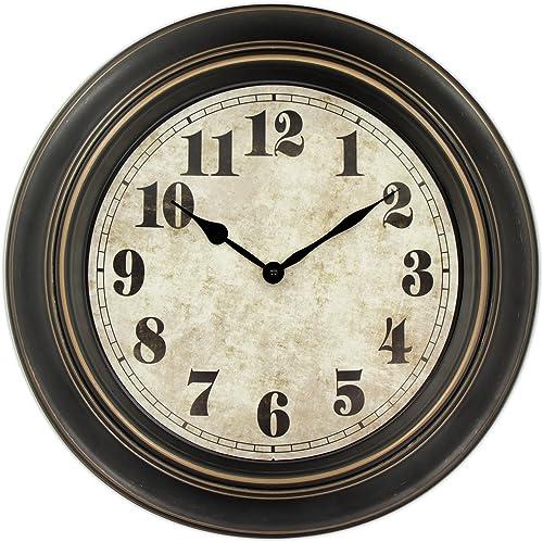 45Min 18-inch Retro Wall Clock, Silent Non-Ticking Round Home Decor Wall Clock with Arabic Numerals