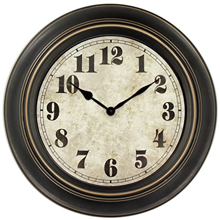 45Min 18-inch Retro Wall Clock, Silent Non-Ticking Round Home Decor Wall Clock with Arabic Numerals
