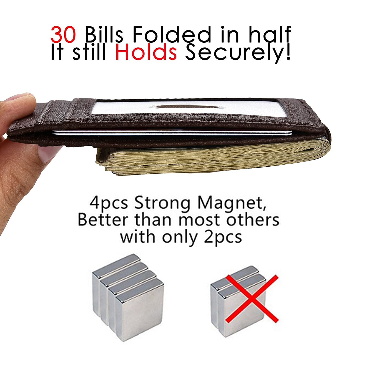 Mens Wallet Money Clip Leather RFID Blocking Magnetic Slim Front Pocket Wallet