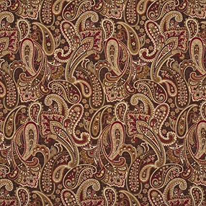 Amazon Com E710 Red Gold And Brown Woven Paisley Upholstery Fabric