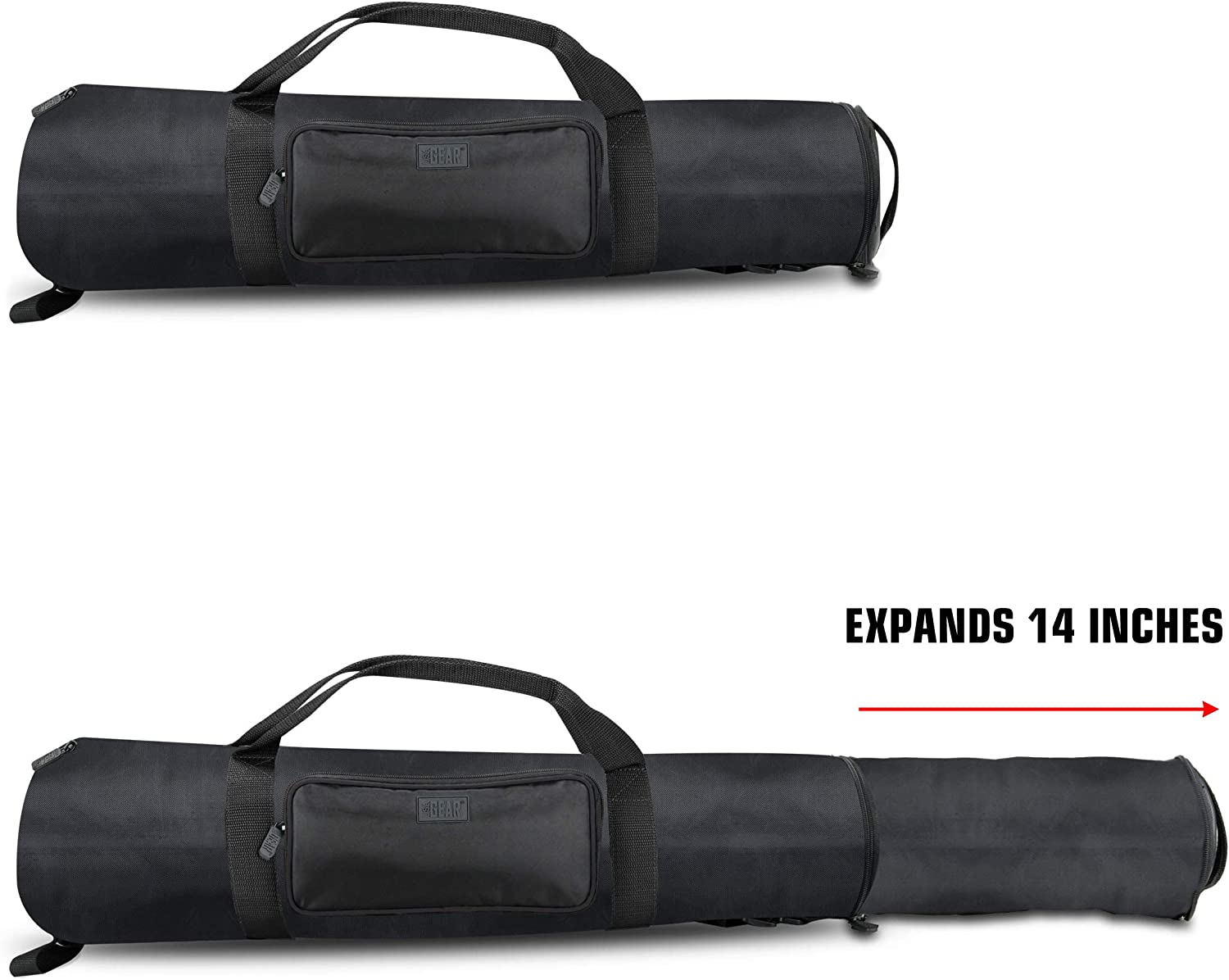 Adjustable Size Extension - Holds Tripods from 21 to 35 inches USA Gear Padded Tripod Case Bag Storage Pocket and Shoulder Strap for Professional Camera Accessories and Photo Carrying Needs Black