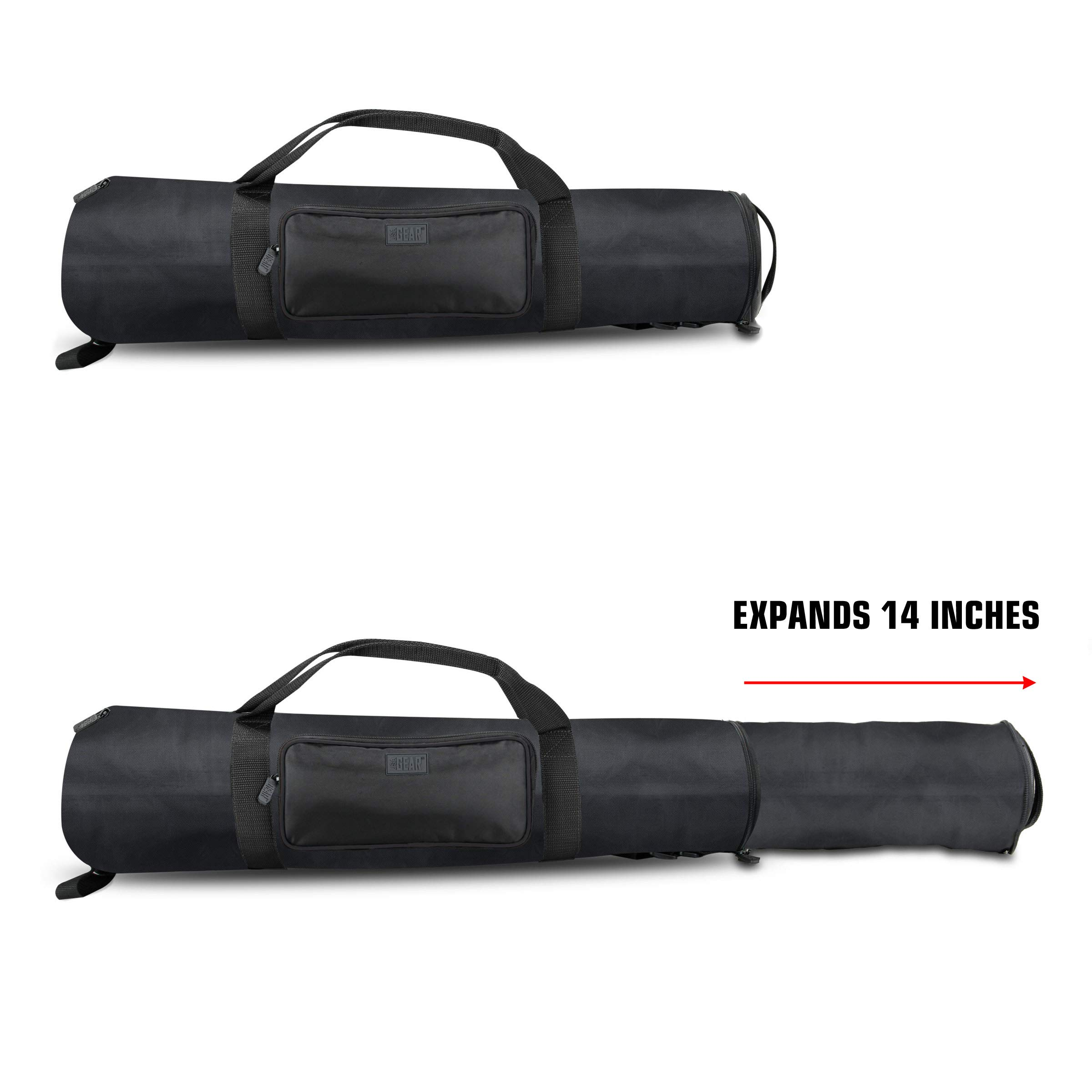 USA Gear Padded Tripod Case Bag - Holds Tripods from 21'' to 35'' Folded with Shoulder Strap, Adjustable Size Extension and Storage Pocket for Professional Camera Accessories and Photo Carrying Needs by USA Gear (Image #2)