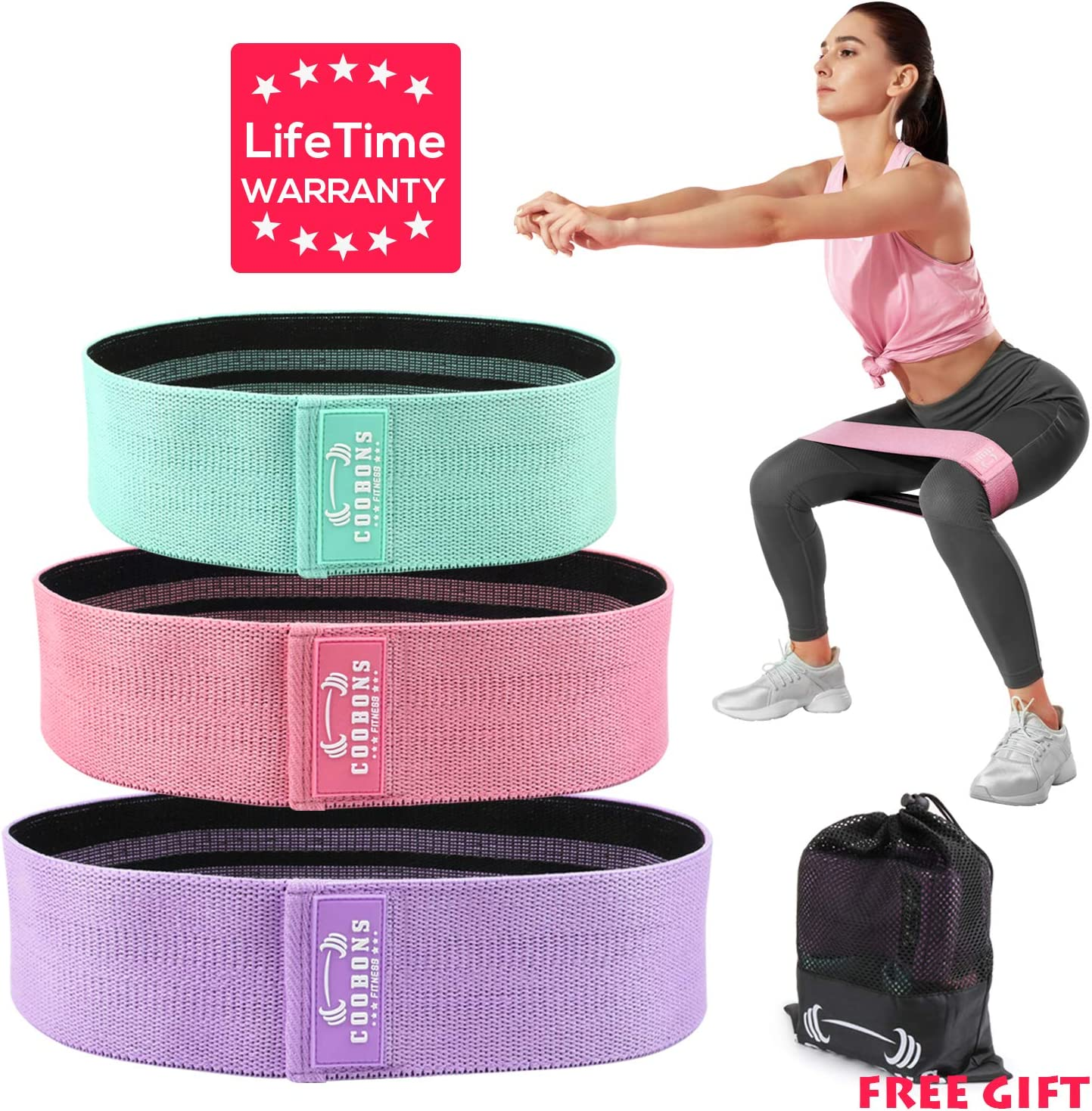 Resistance Bands for Legs and Butt,Exercise Bands Set Booty Bands Hip Bands Wide Workout Bands Resistance Loop Bands Anti Slip Circle Fitness Band Elastic (Set 3)