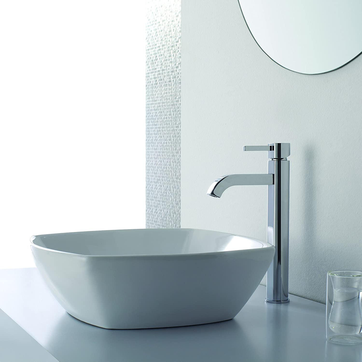 Amazon.com: Kraus FVS 1007CH Ramus Single Lever Vessel Bathroom Faucet  Chrome: Home Improvement
