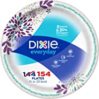 """Dixie Everyday Paper Plates, 8-1/2"""", 154 Count, Lunch or Light Dinner Size Printed Disposable Plates"""