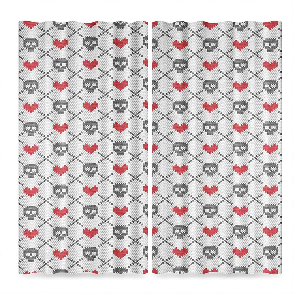 Decor Collection,Skulls Decorations for Living Room,Geometric Skulls and Hearts Stitch Work Knitted Pattern,141Wx106L Inches by TecBillion (Image #2)