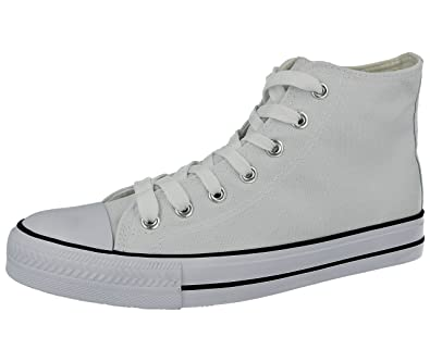 649840dd530 Mens Academy Low Top Hi Top Canvas Toe Cap Lace Up Pumps Plimsoll All Star  Trainers