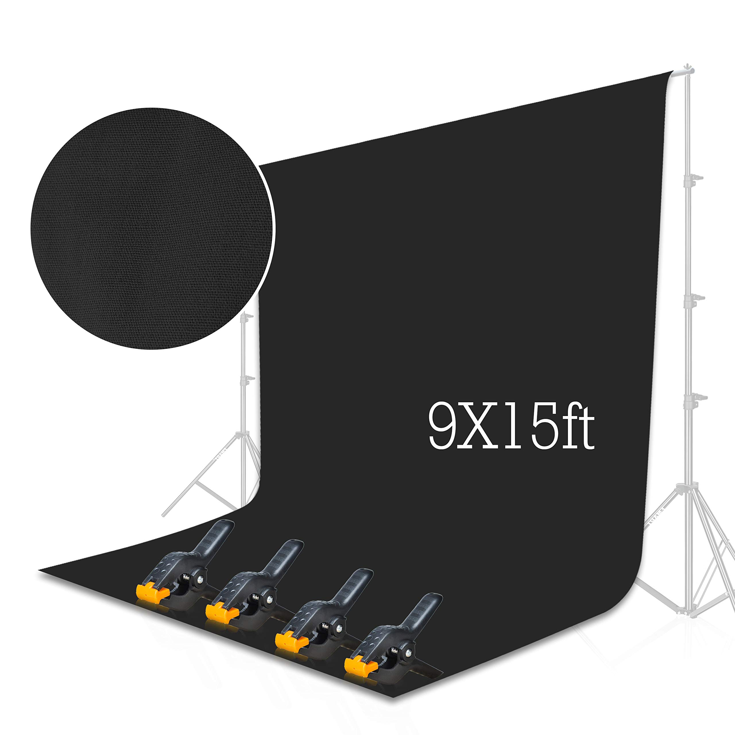 Emart Black Backdrop Background Screen 9 x 15 ft Muslin Photo Video Backdrop Studio, 4 x Backdrop Clamp Included by EMART