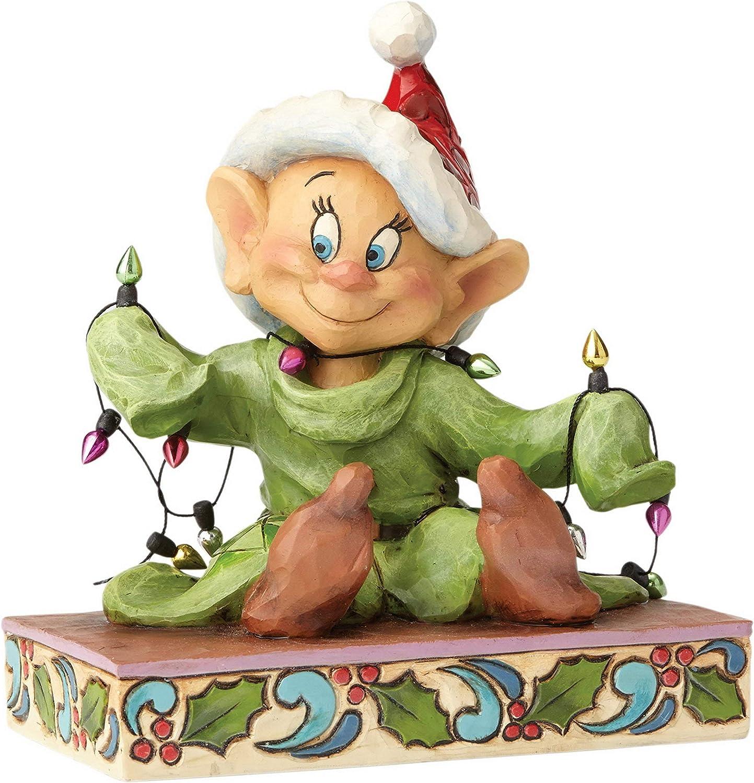 Enesco Disney Traditions Figurita Iluminamos Las Fiestas Dopey, Resina, Multicolor, 12x12x14 cm