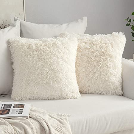 Faux Fur Throw Pillow Cover Fluffy Soft