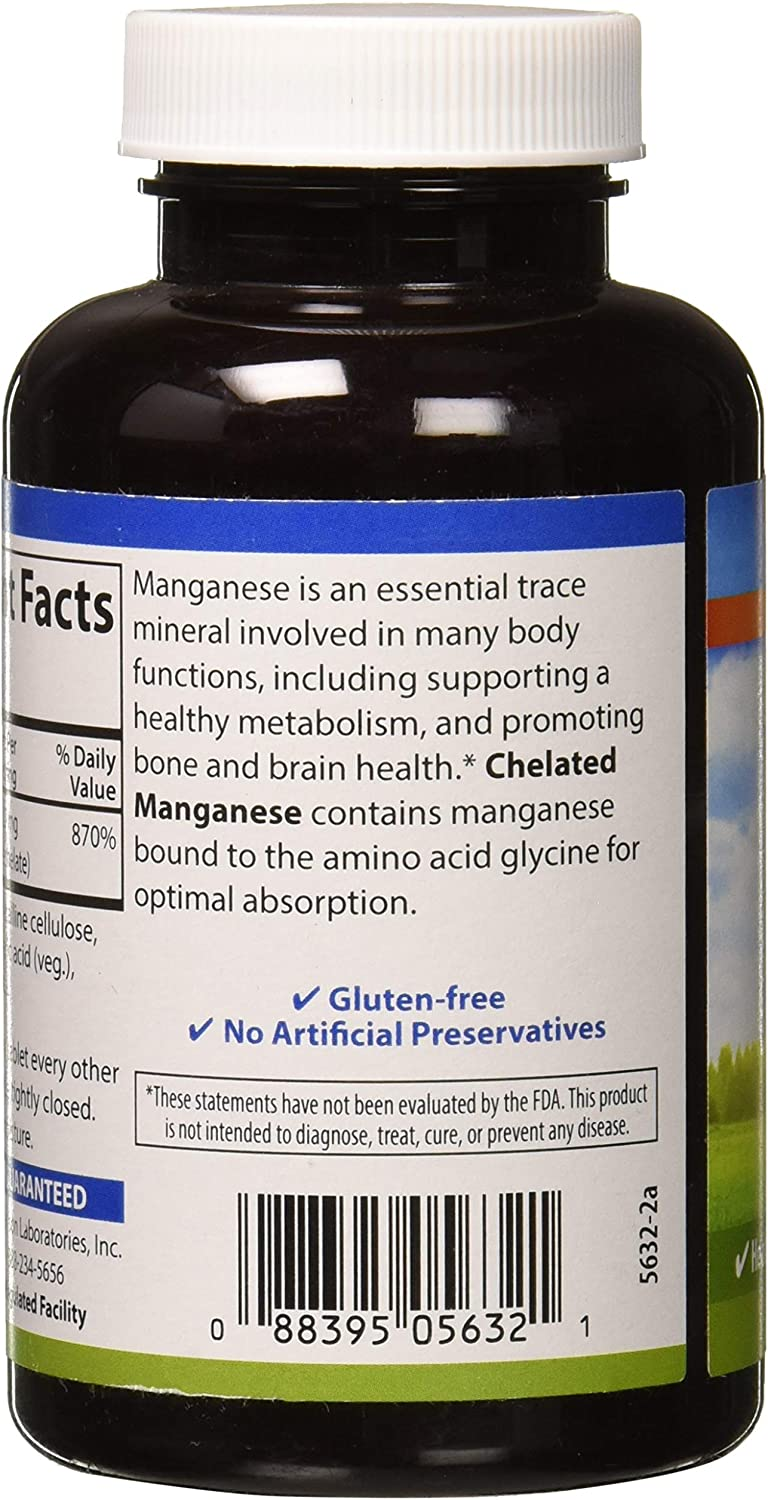 Carlson - Chelated Manganese, 20 mg - Superior Absorption, Healthy Metabolism, Bone Support & Brain Health, 250 Tablets: Health & Personal Care