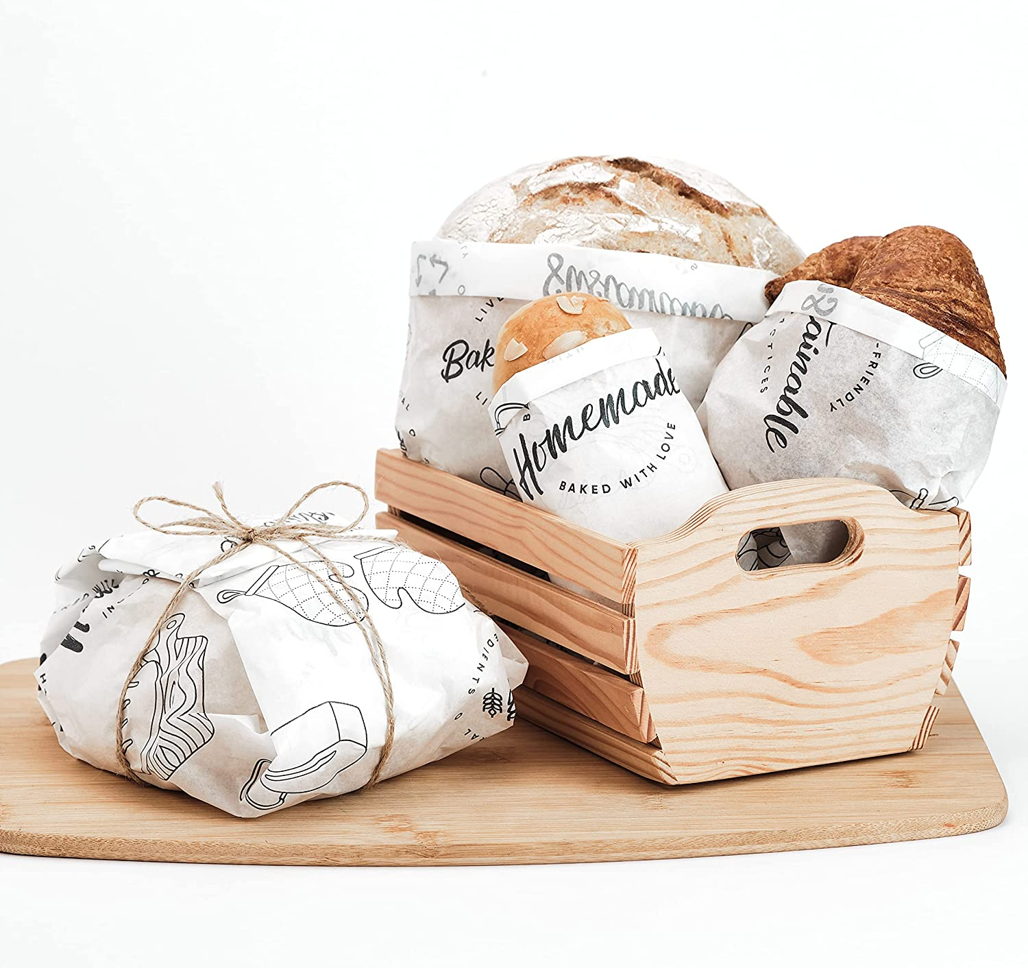 30 Pcs. Paper Bread Wrapper Bags for Homemade Sourdough. Large, Plastic Free with 30 Stickers & Twine. Packaging Kit For Baked Goods. Reusable for Baking, Greaseproof, Compostable – 20 x 24 inches