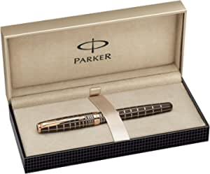 Parker Brown Rubber Lacquer, Fountain Pen, Medium solid gold nib with Black ink (185481)