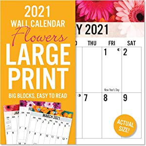 2021 Large Print Floral 16-Month Wall Calendar, Easy to Read, Durable Paper