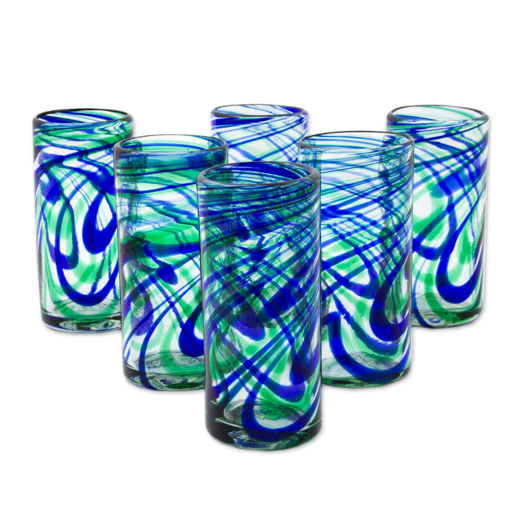 NOVICA Blue and Green Swirl Hand Blown Glass Highball Glasses, 11 oz, 'Elegant Energy' (set of 6)