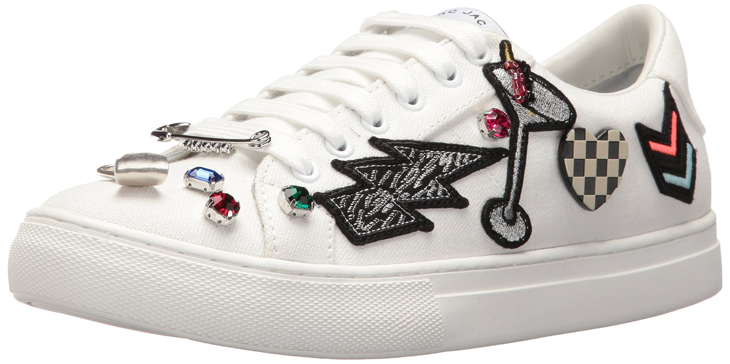 Marc Jacobs Women's Empire Lace up Fashion Sneaker, White Multi, 40 EU/10 M US