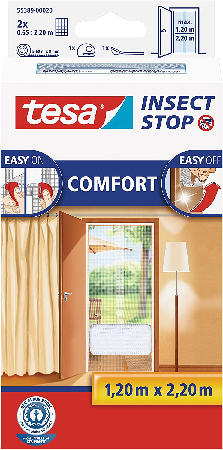 tesa Insect Stop Comfort Red Anti Mosquitos Puerta Blanco - Mosquiteras (2200 x 60 x 1200 mm, Blanco, 454 g)
