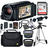 Canon VIXIA HF R800 Camcorder with Sandisk 32 GB SD Memory Card + 2.2x Telephoto Lens + 0.42x Wideangle Lens + Extra Accessory Bundle