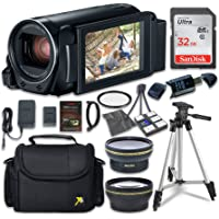 Canon VIXIA HF R800 Camcorder with Sandisk 32 GB SD Memory Card + 2.2x Telephoto Lens + 0.42x Wideangle Lens + Extra…