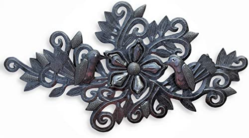 Metal Birds and Flowers, Wall Decor, Indoor and Outdoor Plaques, Artistic Craftsmanship 9.5 in. x 19 in.