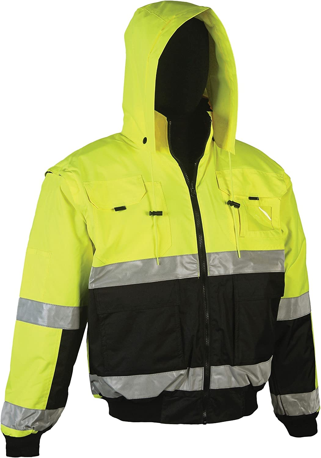 Reversible Safety Jackets For Men or Women Brite Safety Style 5025 Hi Vis Hoodie Bomber Jacket Waterproof 2XL, Hi Vis Orange ANSI Class 3 Compliant Breathable : 2-Tone