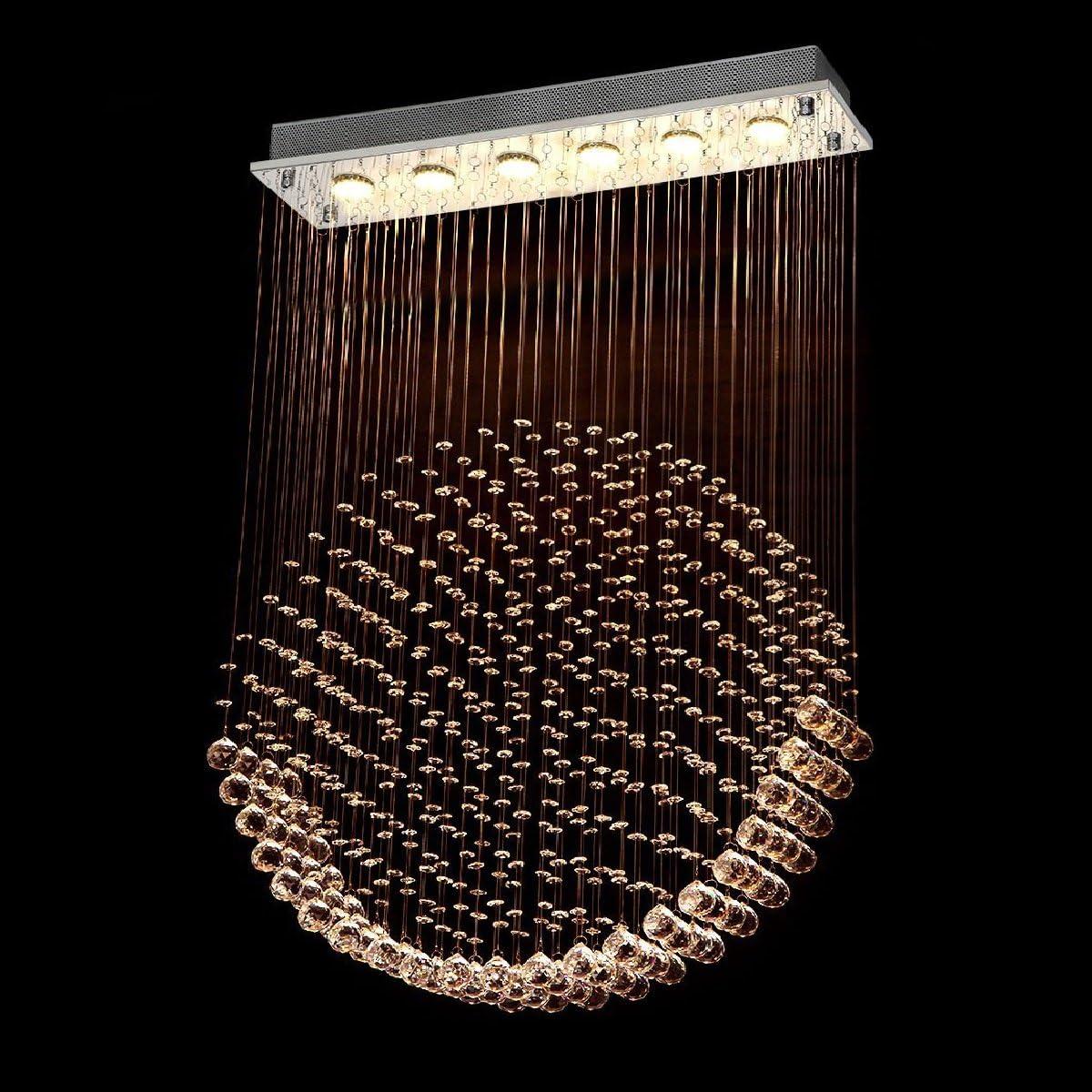 Luxurious Gorgeous Modern Contemporary Rain Drop LED Crystal Rectangle Chandelier Flush Mount Rectangle Rain Drop Ceiling Light Fixtures L40 X W10 X H51 6 Lights Round