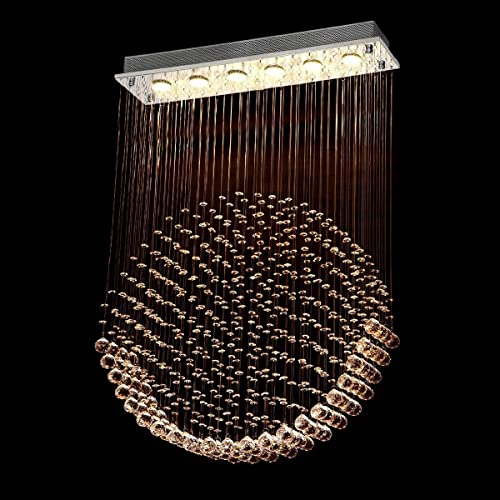 Luxurious Gorgeous Modern/Contemporary Rain Drop LED Crystal Rectangle Chandelier/Flush Mount/Rectangle Rain Drop/Ceiling Light Fixtures L40″ X W10″ X H51″ 6 Lights Round