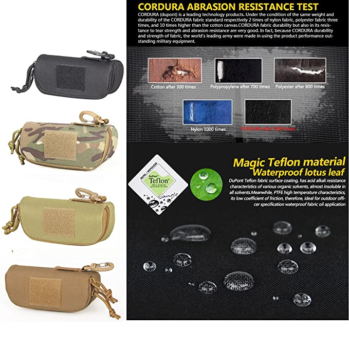 Tactical Molle Sunglasses Case Outdoor Portable Anti-Shock 1000D Nylon Hard Clamshell Carry Glasses Case