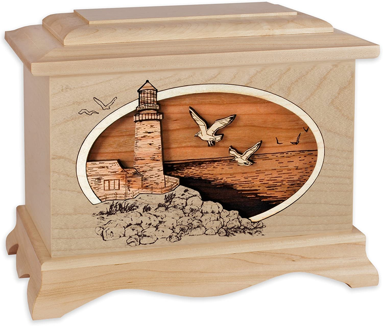 Wooden Cremation Urn - Ambassador Shape with Coastal Lighthouse 3-Dimensional Inlay Wood Art Memorial - Funeral Urns for Adults (Classic Lighthouse, Maple)