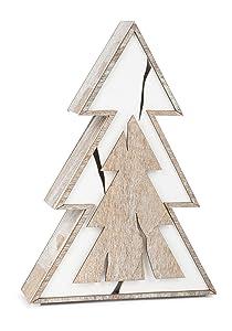 Small Foot Company Lámpara de Abeto trozo diseño Shabby-Chic, Distintos Cortes de Madera en marrón y Blanco, decoración navideña con iluminación a Pilas