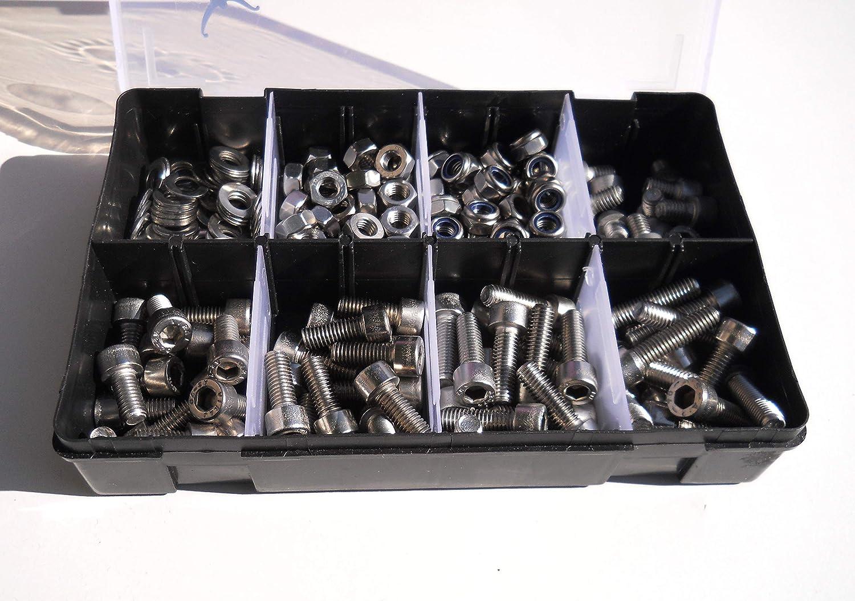 M8 Allen A2-70 Juego de tornillos y arandelas para llave de vaso 225 piezas acero inoxidable 304