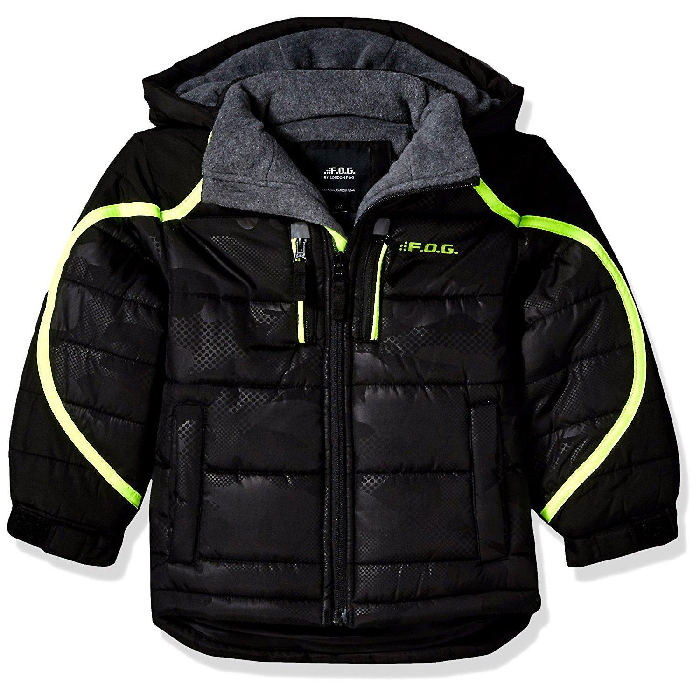 London Fog Little Boys' Hooded Pieced Puffer Jacket, Camo/Black, 5/6