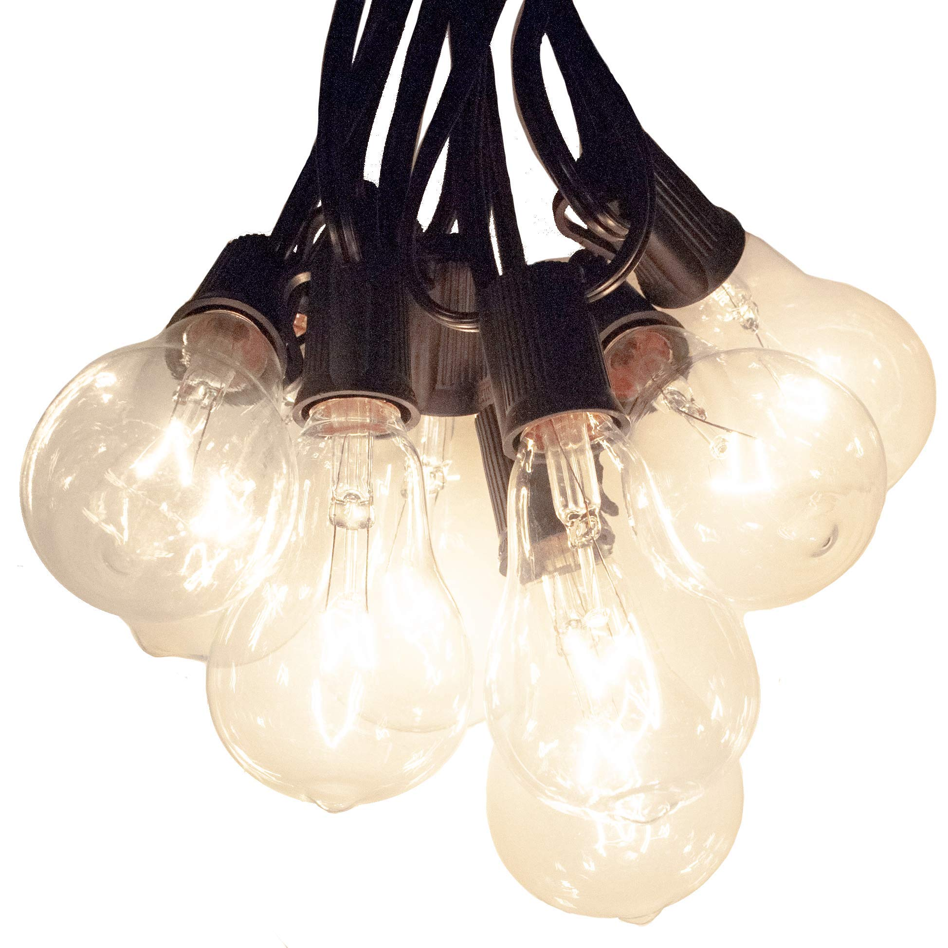 50 Foot Patio String Lights with PS50 Clear Bulbs and Black Cord