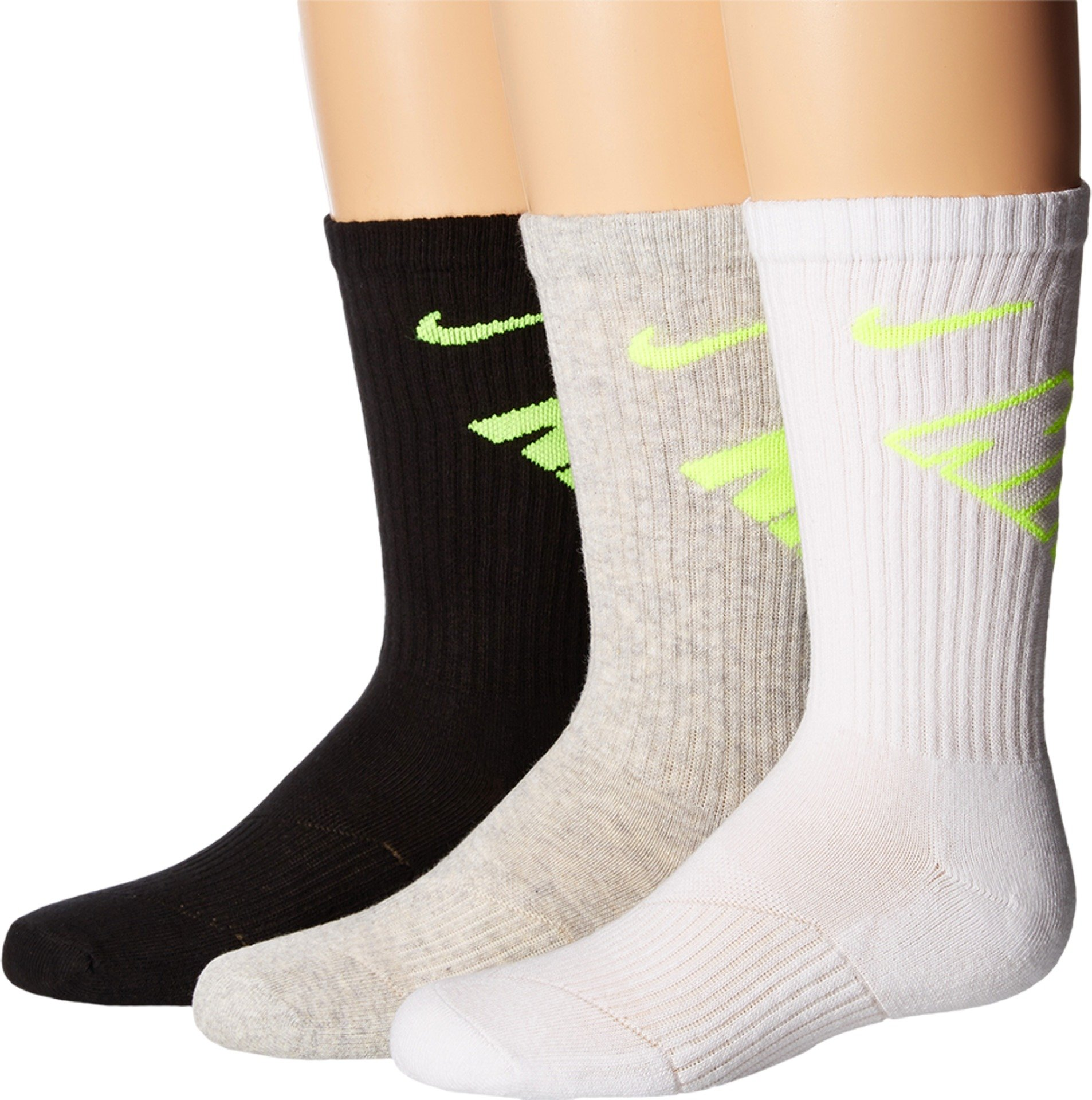 Nike 3 pack socks Crew Performance Cotton Cushioned Black/grey/white